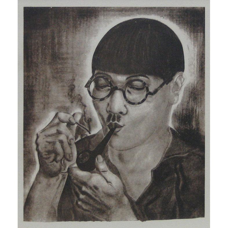 (作品集)パイプを吸う自画像