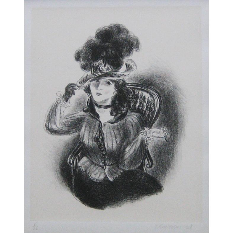 羽根帽子の女