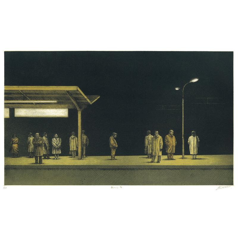 駅にて、夜