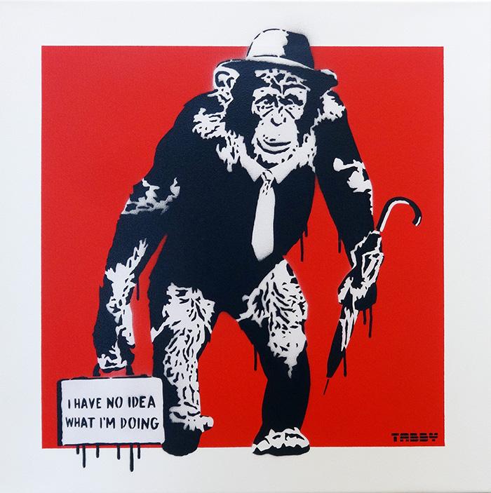 働くチンパンジー(赤)